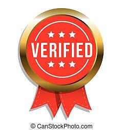 verificado, vetorial, emblema, fita
