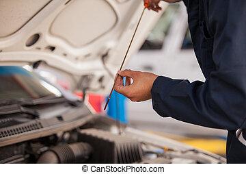 verificar, car, óleo, níveis