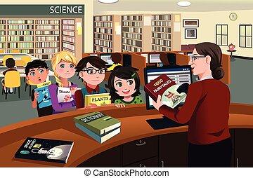 verificar, crianças, livros, biblioteca, saída
