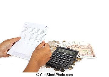verificar, dinero, mes, mano, consept, tenencia, pila, libro...