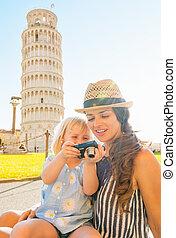 verificar, fotos, cámara, leani, madre, nena, frente