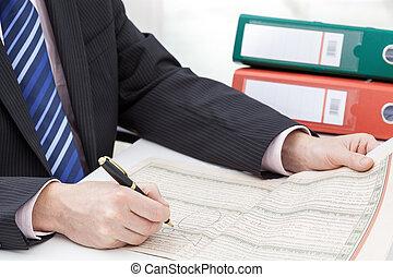 verificar, hombre de negocios, acción, noticias