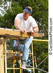 verificar, linha reta, carpinteiro