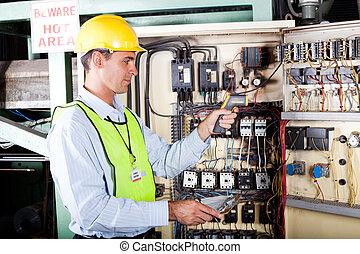 verificar, máquina, industrial, electricista