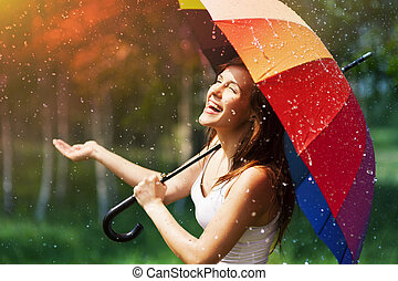 verificar, mulher, guarda-chuva, rir, chuva