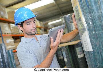 verificar, producto, trabajador, contra, tableta
