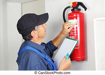 verificar, profesional, ardiendo, extintor