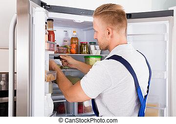 verificar, repairman, refrigerador