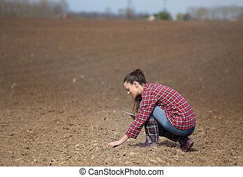 verificar, solo, mulher, qualidade, agricultor
