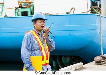 verificar, trabajador, sitio, construcción, ubicación, plano...