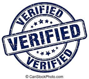 verified blue grunge round vintage rubber stamp