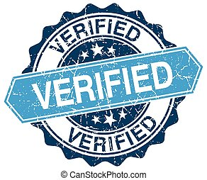 verified blue round grunge stamp on white