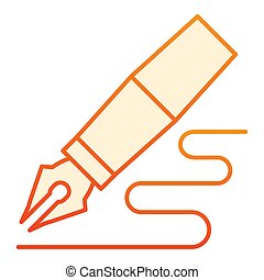 Verified Fountain pen flat icon. Feather pen drawing line orange icons in trendy flat style. Pen writing gradient style design, designed for web and app. Eps 10.