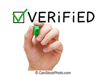 Verified Green Check Mark Concept - Hand putting check mark...