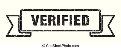 verified grunge ribbon. verified sign. verified banner
