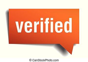 verified orange 3d speech bubble - verified orange 3d square...