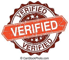 verified orange round grunge stamp on white
