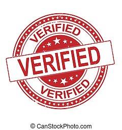 verified red round grunge stamp on white