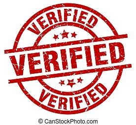 verified round red grunge stamp