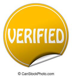 verified round yellow sticker on white background