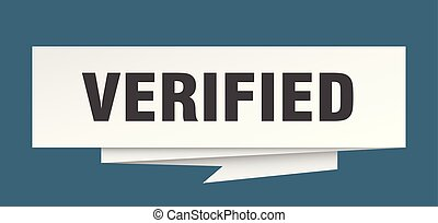 verified sign. verified paper origami speech bubble. ...