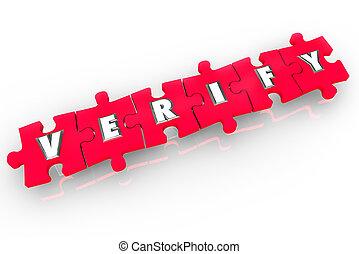 Verify 3d Word Puzzle Pieces Confirm Inspect Prove - Verify...