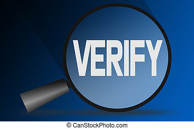Verify word with magnifying glass