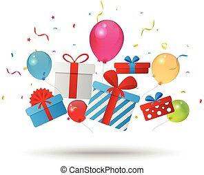 verjaardag geschenk, doosje, met, confetti