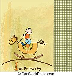 verjaardag kaart, eerst