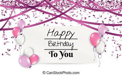 verjaardag kaart, met, ballons, en, linten