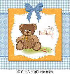 verjaardag kaart, teddy