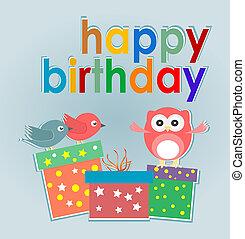 verjaardagsfeest, kaart, met, schattig, uil, vogels, en, giftdozen, -, gelukkige verjaardag