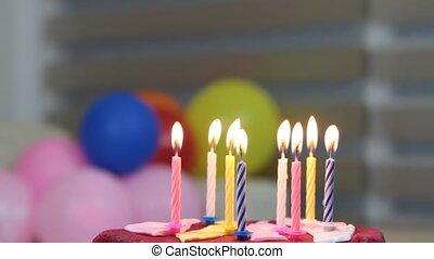verjaardagstaart, en, kaarsjes