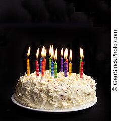 verjaardagstaart, op, black