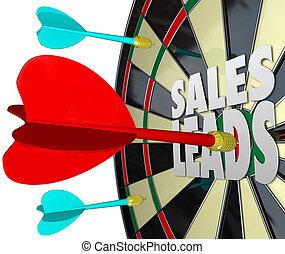 verkäufe, führt, pfeil- brett, verkauf, aussichten, kunden