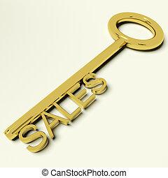 verkäufe, gold schlüssel, darstellen, geschäft handel