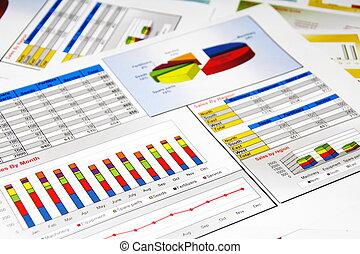 verkäufe report, in, statistik, schaubilder, und, tabellen