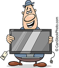 verkäufer, mit, fernseher, karikatur