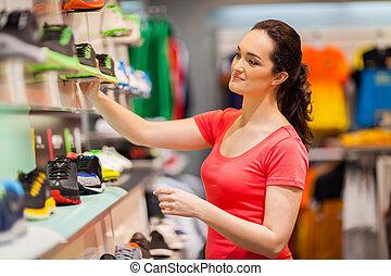 verkäufer, weibliche , junger, sportkleidung