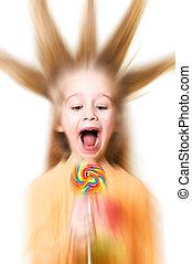 verkan, godis, zoom, blur), radialdäck, (special, flicka, ...