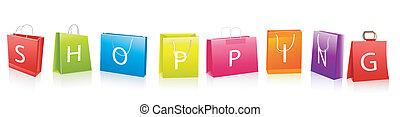 verkauf, einkaufstüten