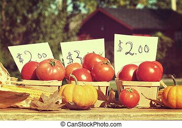 verkauf, gereift, rresh, straßenrand, tomaten, stehen