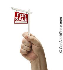 verkauf, immobilien- zeichen, in, faust, weiß