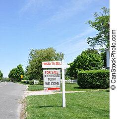 verkauf, immobilien- zeichen