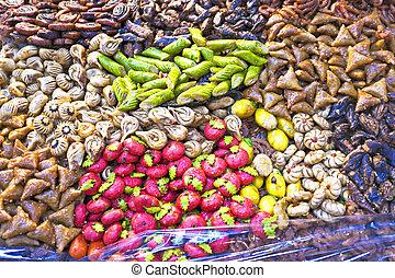 verkauf, marokkanisch, traditionelle , süßigkeiten, marrakesh, markt