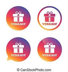 verkauf, -, verkauf, in, deutsch, zeichen, icon., gift.