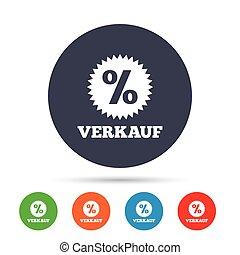 verkauf, -, verkauf, in, deutsch, zeichen, icon., star.