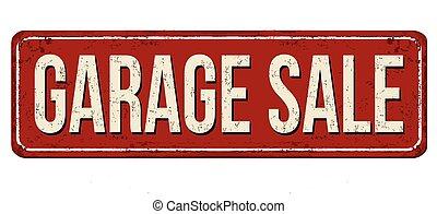 verkauf zeichen, rostiges , weinlese, metall, garage