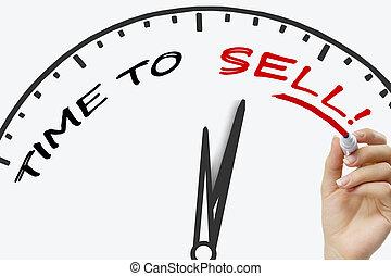 verkaufen, begriff, schreibende, markierung, rotes , zeit, board., hand, wischen, durchsichtig