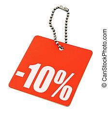 verkaufspreisschild, auf, rein, weißer hintergrund